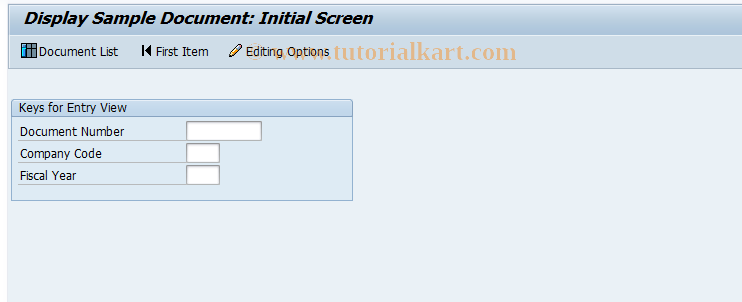 SAP TCode FBM3 - Display Sample Document