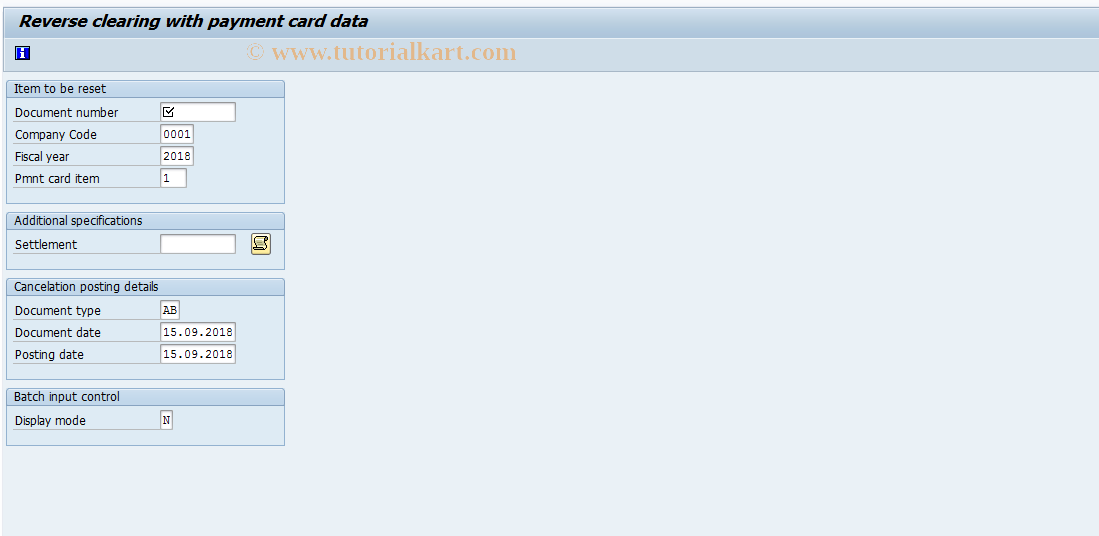 SAP TCode FBRC - Reset Cleared Items (Payment Cards)