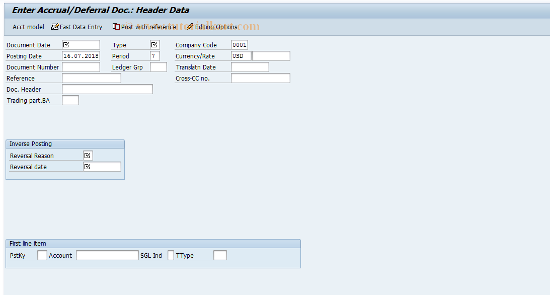 SAP TCode FBS1 - Enter Accrual/Deferral Document