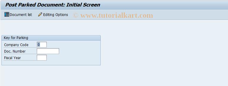 SAP TCode FBV0 - Post Parked Document