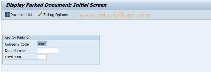 SAP TCode FBV3 - Display Parked Document