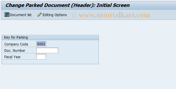 SAP TCode FBV4 - Change Parked Document (Header)