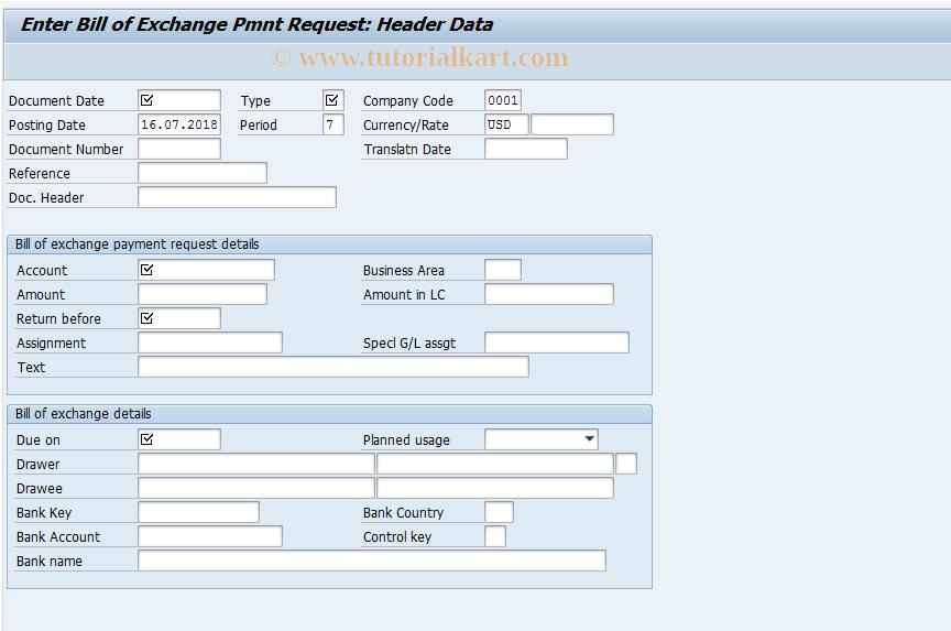 SAP TCode FBW1 - Enter Bill of Exchange Pmnt Request