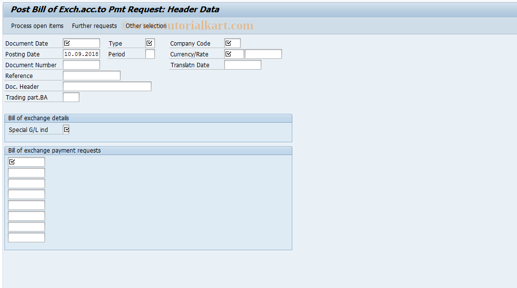 SAP TCode FBW2 - Post Bill of Exch.acc.to Pmt Request