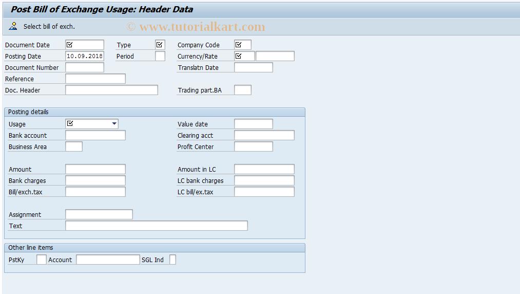 SAP TCode FBW3 - Post Bill of Exchange Usage