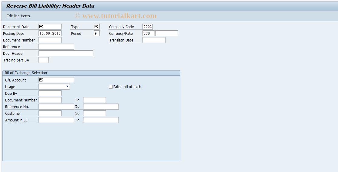 SAP TCode FBW4 - Reverse Bill Liability