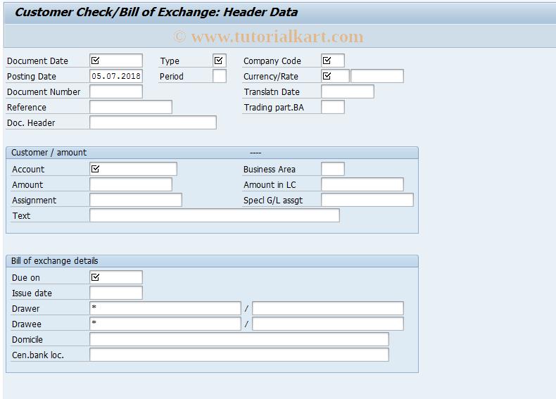 SAP TCode FBW5 - Customer Check/Bill of Exchange