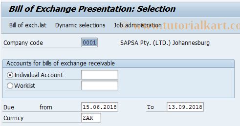SAP TCode FBWE - Bill/Exch.Presentatn - International