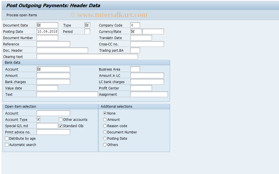 SAP TCode FBZ2 - Post Outgoing Payments