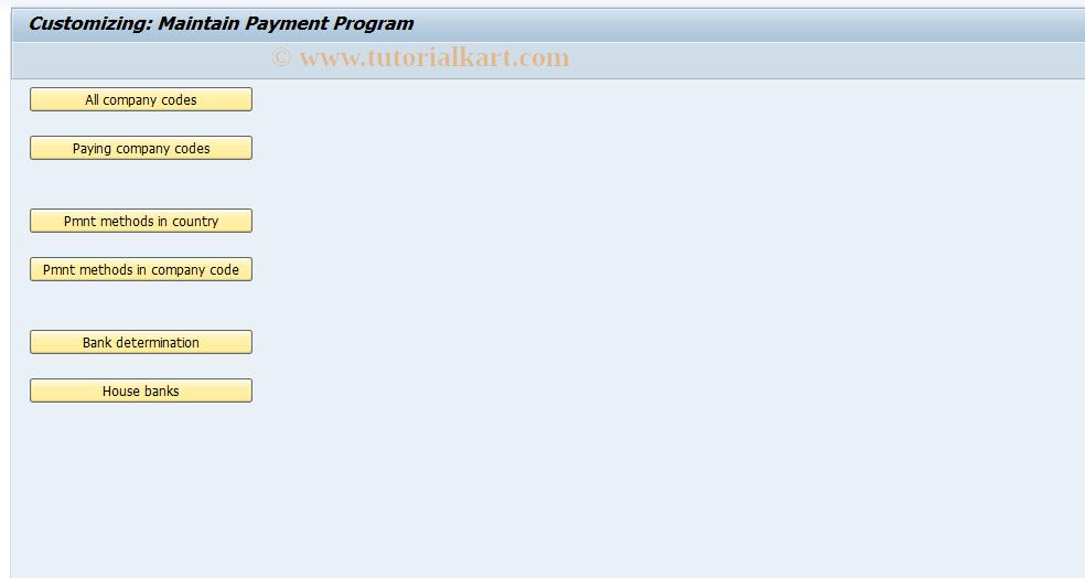 SAP TCode FBZP - Maintain Pmnt Program Configuration