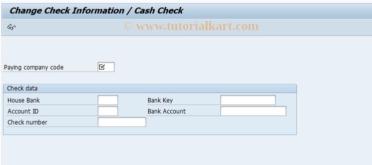 SAP TCode FCH6 - Change Check Information/Cash Check