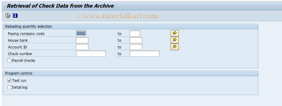 SAP TCode FCHB - Check retrieval
