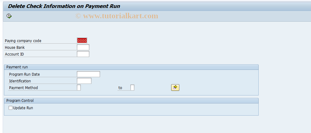 SAP TCode FCHD - Delete Payment Run Check Information