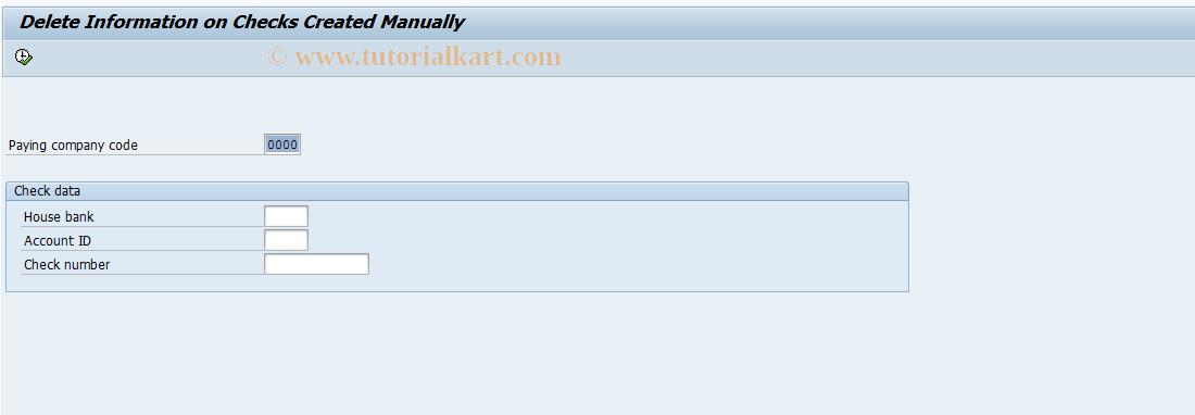 SAP TCode FCHF - Delete Manual Checks