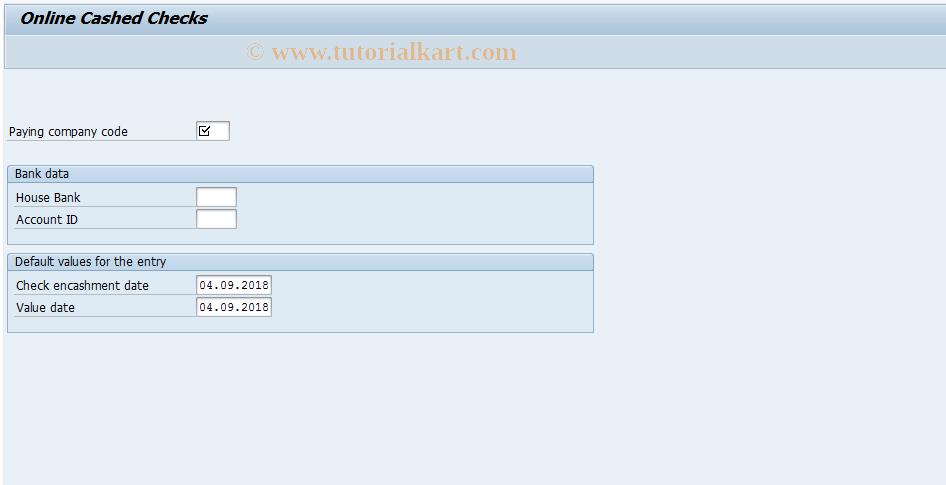 SAP TCode FCHR - Online Cashed Checks