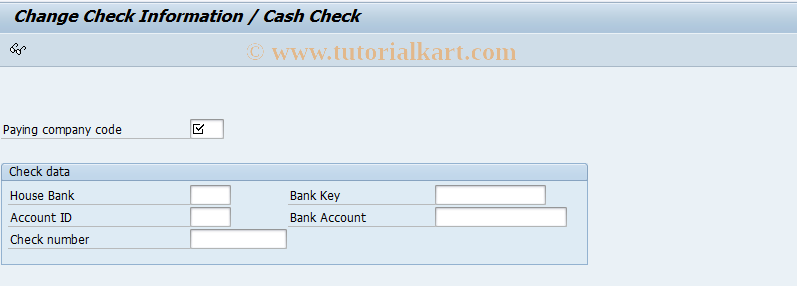FCHT SAP Tcode : Change Check/Payment Assignment Transaction Code