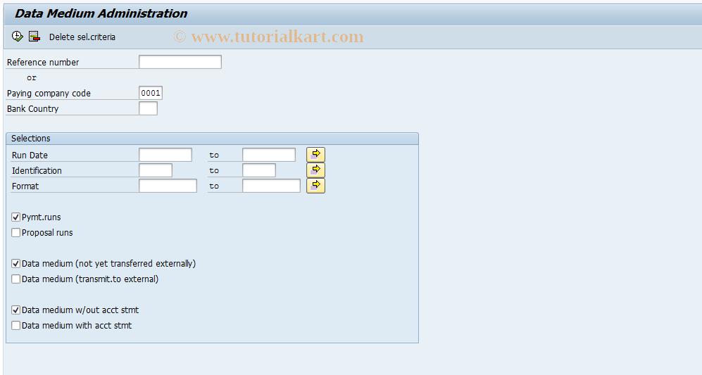 SAP TCode FDTA - TemSe/REGUT Data Administration
