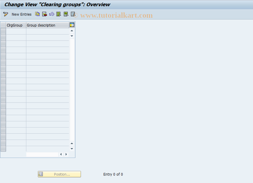SAP TCode FEC14 - Clearing groups