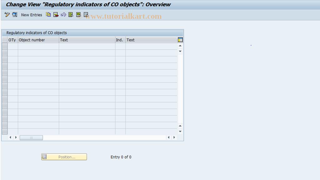 SAP TCode FEC6 - Regulatory indicator assignment