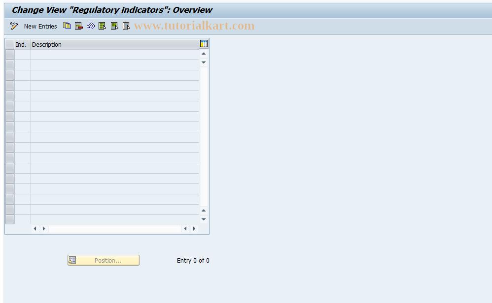 SAP TCode FEC7 - Regulatory indicators