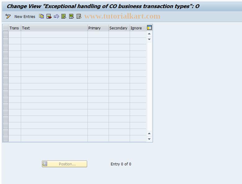 SAP TCode FEC8 - CO transaction type handling