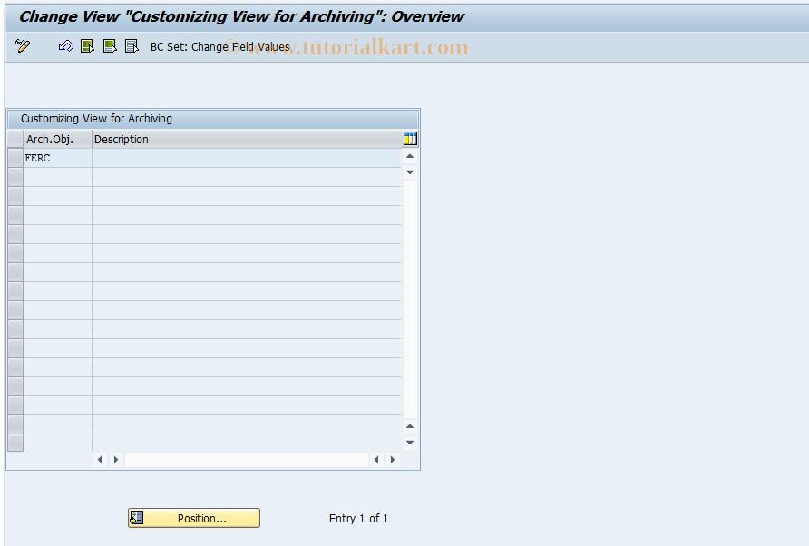 SAP TCode FECA - Customizing Archiving