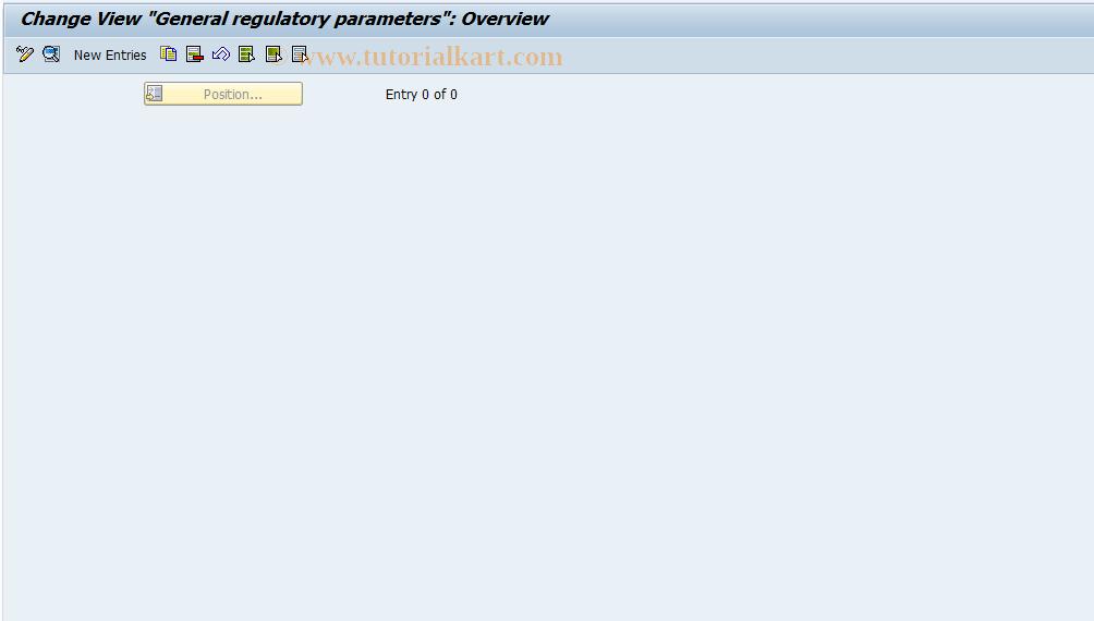 SAP TCode FECG - General regulatory parameters