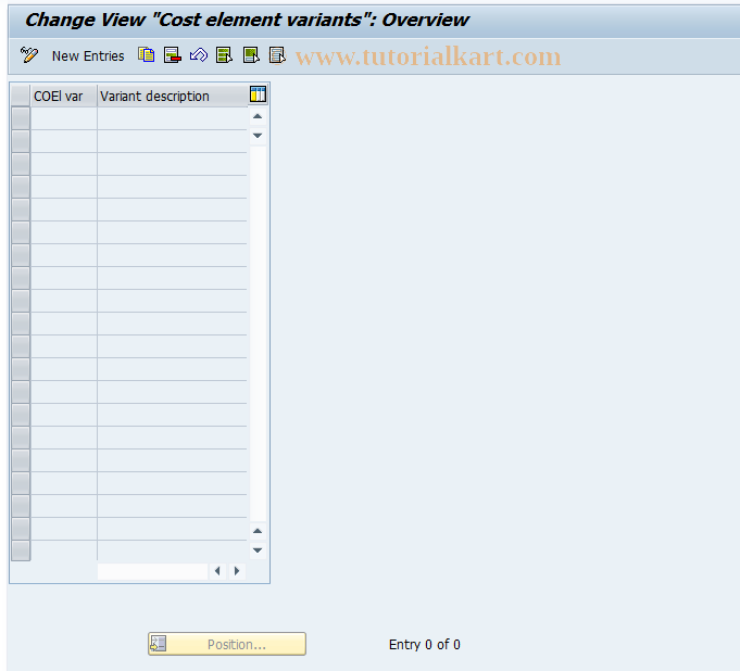 SAP TCode FECV - Clearing cost element variants