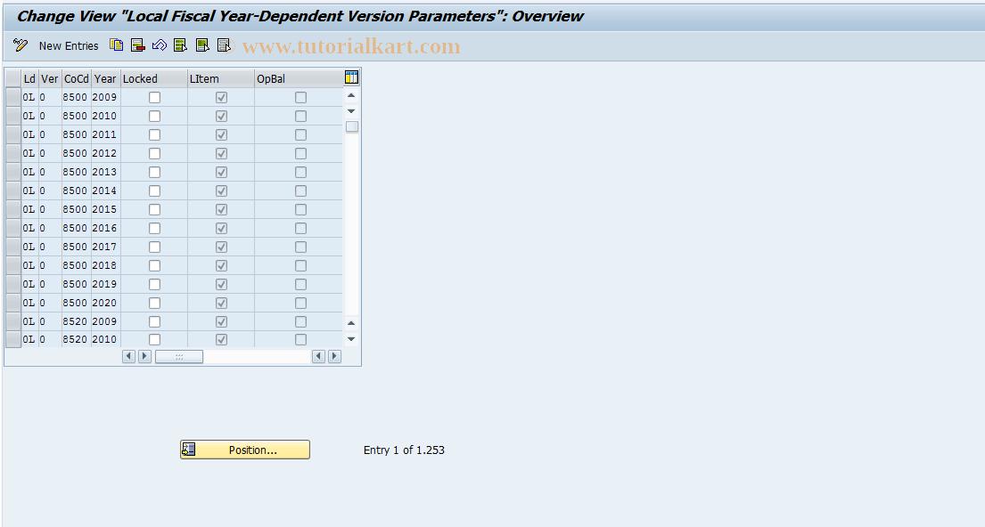 SAP TCode FEP5 - Fiscal year dep. version parameters