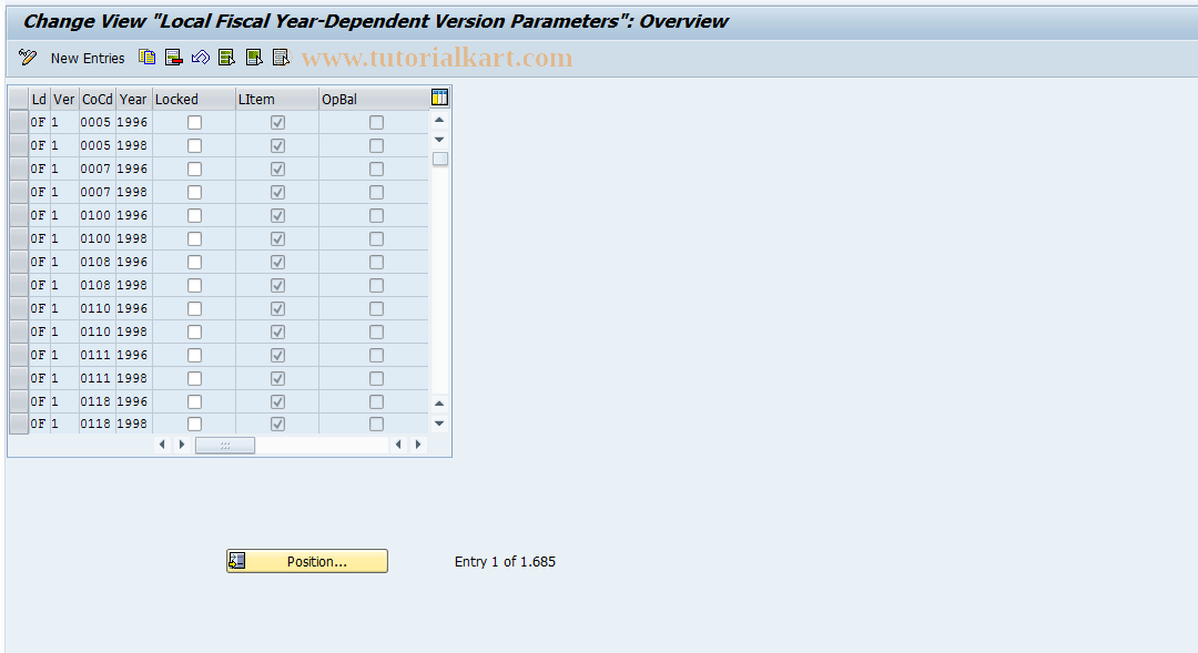 SAP TCode FEP7 - Fiscal year dep. version parameters