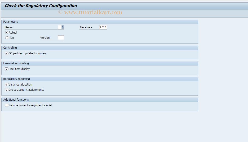 SAP TCode FERV - Validate regulatory configuration