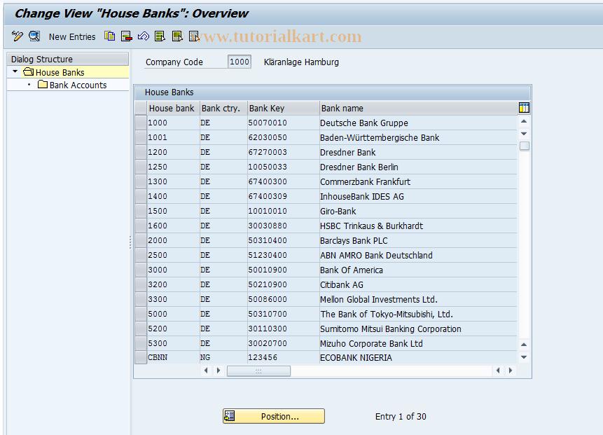 SAP TCode FI12 - Change House Banks/Bank Accounts