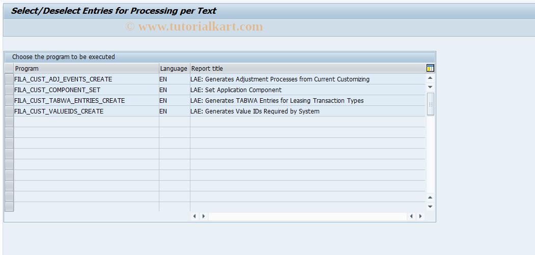 SAP TCode FILACUS - List Available Help Programs