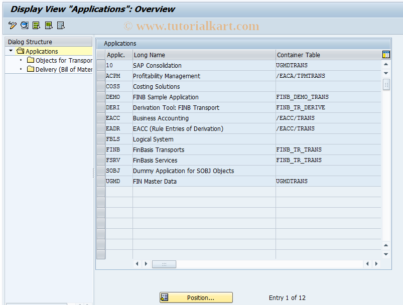 SAP TCode FINB_TR_CAT - Catalog of Transport Objects