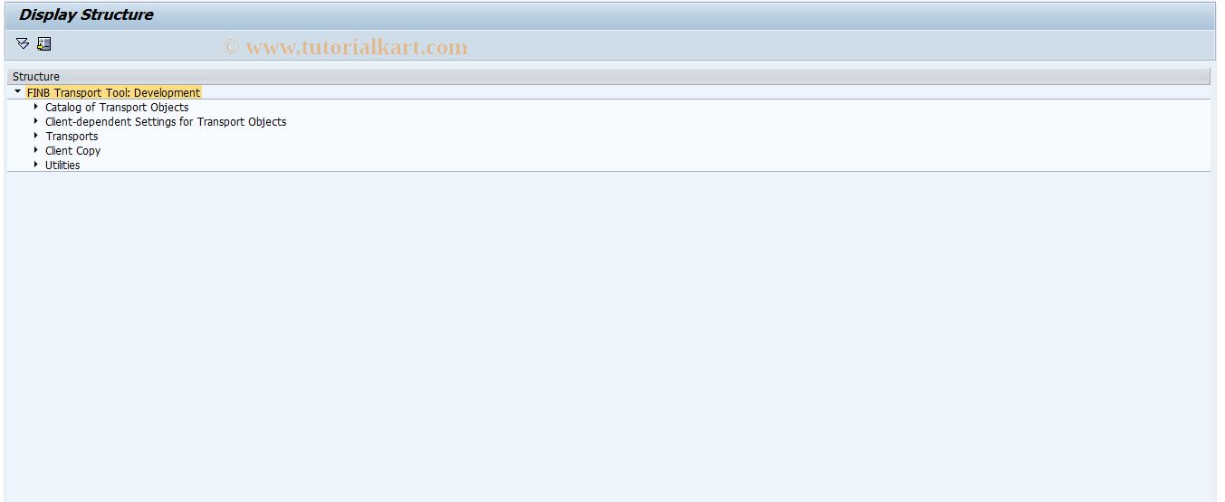 SAP TCode FINB_TR_IMG - Transport Tool - Development