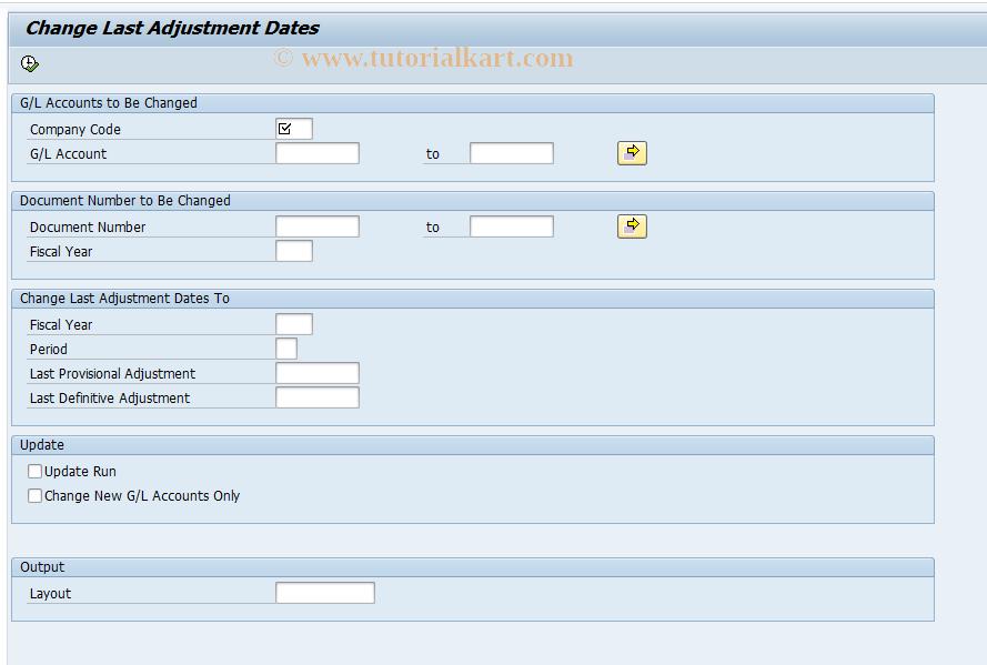 SAP TCode FJA2 - Change Last Adjustment Dates