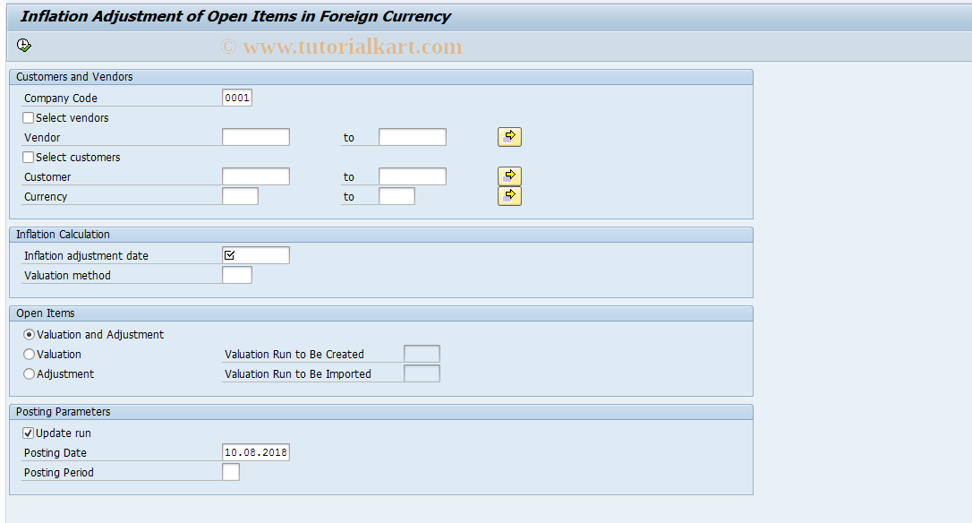 SAP TCode FJA4 - Infl. Adjustment of Open Items (FC)