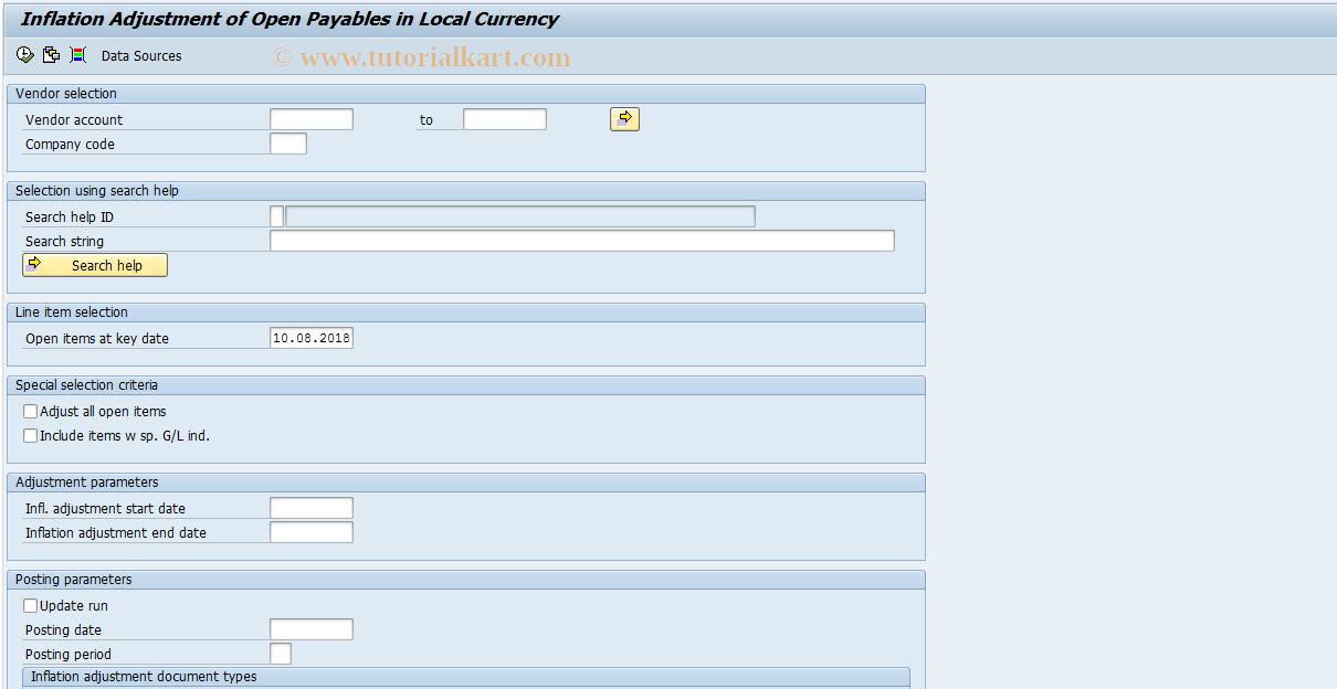 SAP TCode FJA6 - Infl. Adj. of Open Payables (LC)