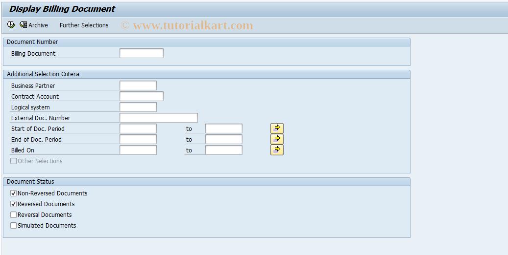 FKKINVBILL_DISP SAP Tcode : Display Billing Document