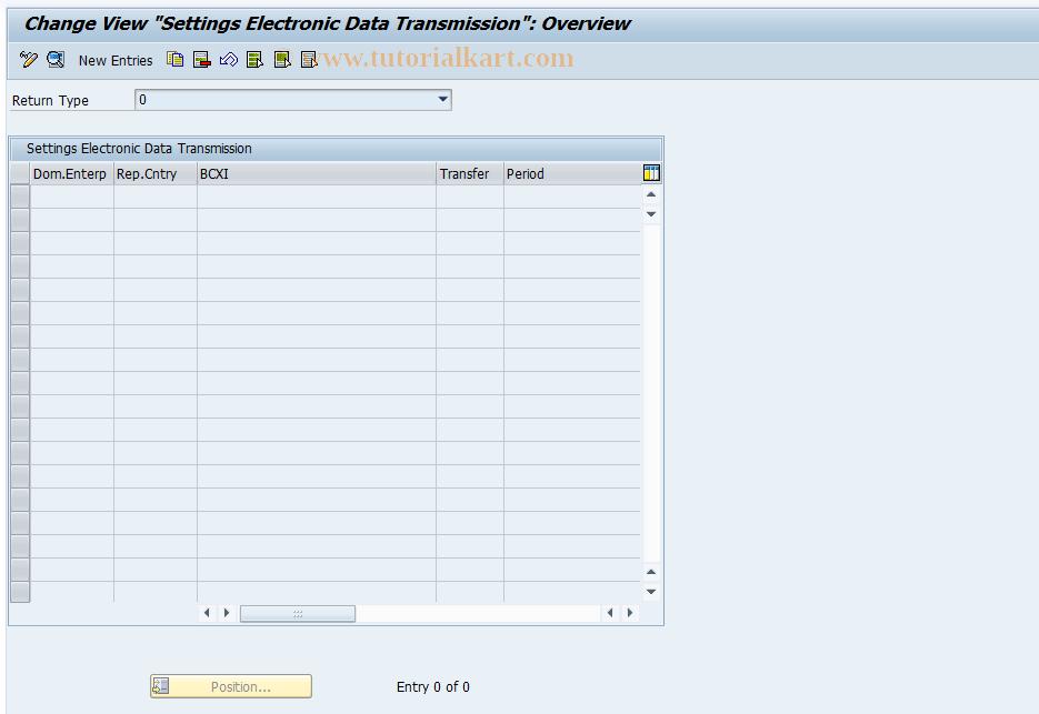 SAP TCode FOTED1 - Electr. Data Transmission Settings
