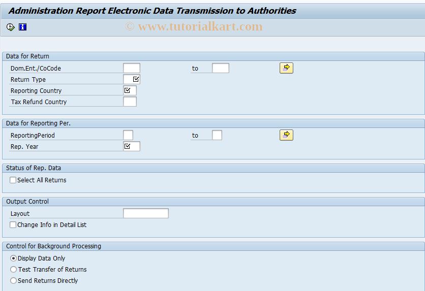 SAP TCode FOTV - Admin. Report Data Transmission