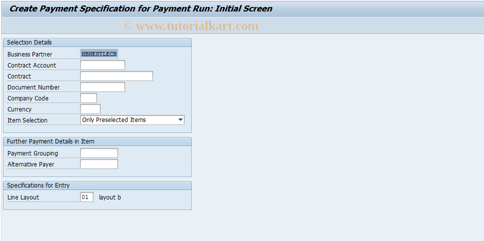 SAP TCode FPAY1A - Create Payment Specification