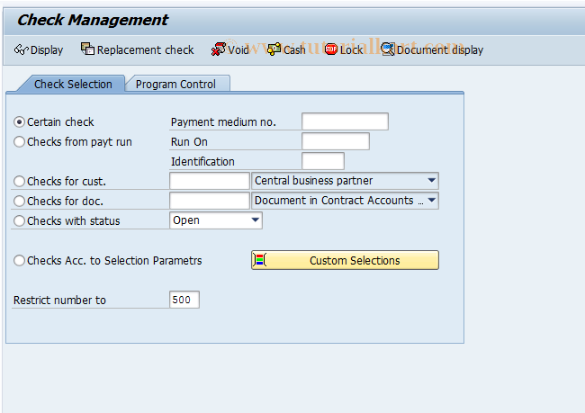 SAP TCode FPCHR - Check Management