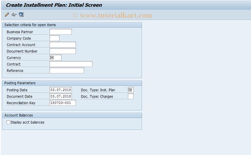 SAP TCode FPR1 - Create Installment Plan