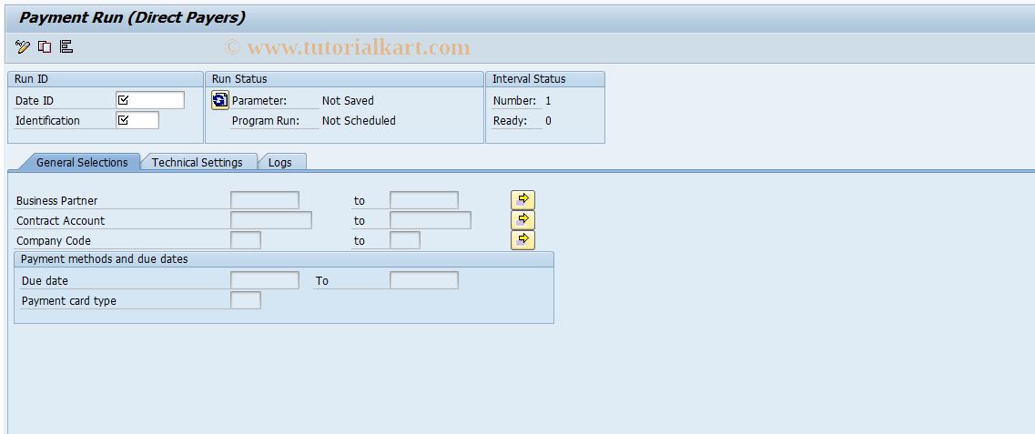 SAP TCode FPYS - Payment Run (Direct Payers)