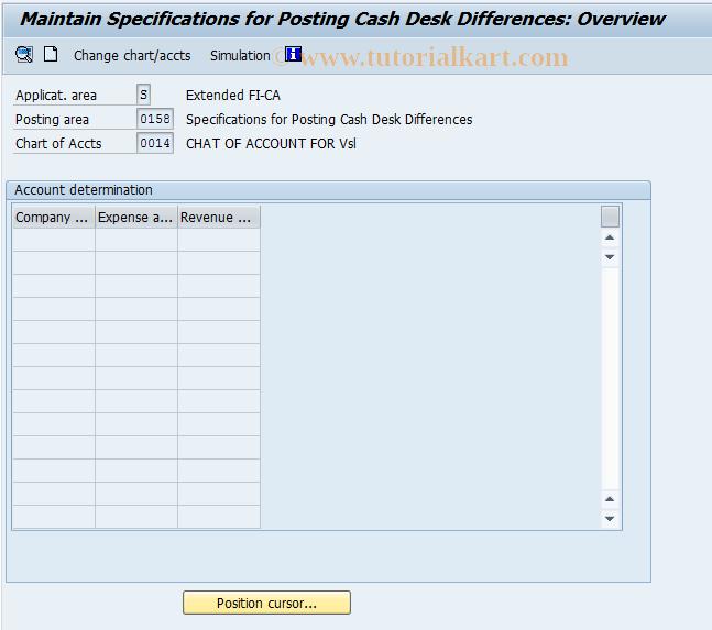 SAP TCode FQEXC6 -  Specific for Posting Cash Desk Different