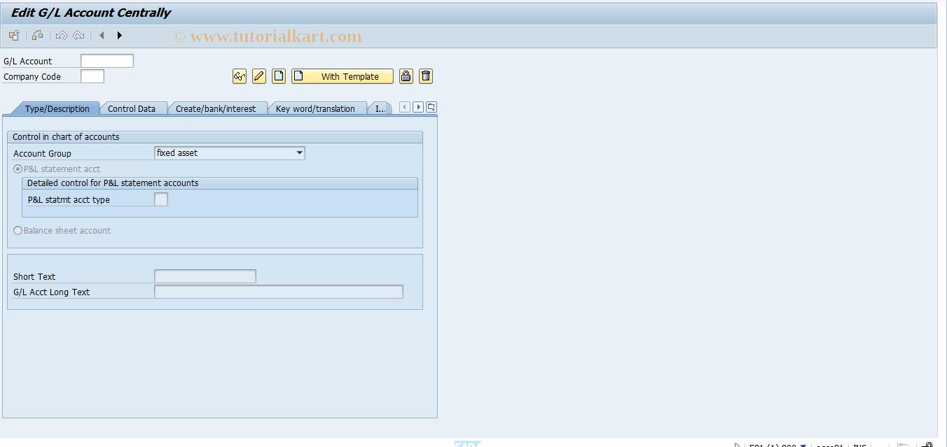 SAP TCode FS00 - G/L acct master record maintenance