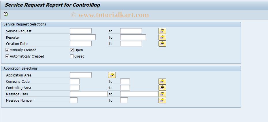 SAP TCode FSSC_SR_CO_REPORT - Service Request Report for CO