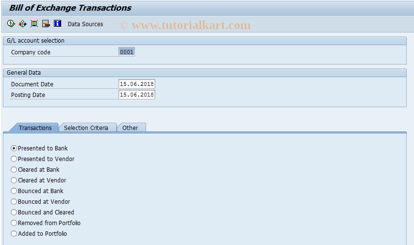 SAP TCode FTR03 - Bill of Exchange Transactions