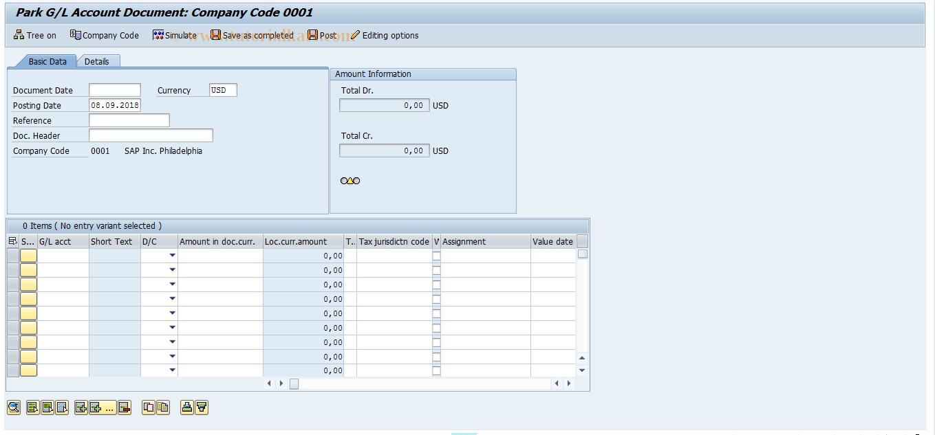 SAP TCode FV50 - Park G/L Account Items